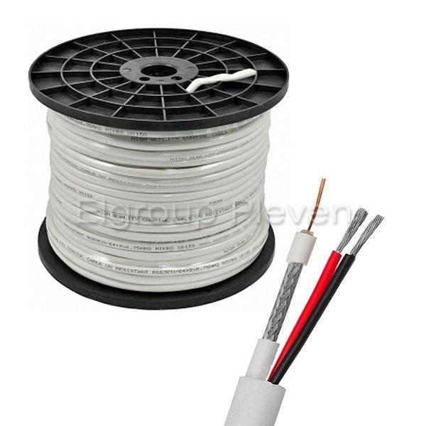 Комбиниран кабел, микрокоаксиал RG59+2x0.75mm², БЯЛ, 200м ролка