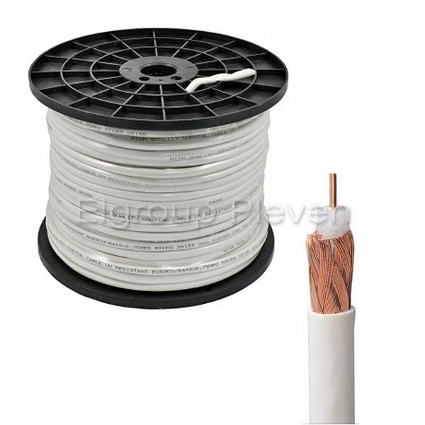 Коаксиален кабел 75Ω, RG59CU (меден), UV защита, БЯЛ, 200м ролка